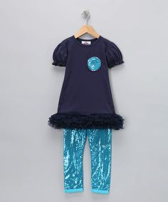 Save now on this Navy & Turquoise Sequin Tee & Leggings - Toddler & Girls by Candytoez on #zulily today!