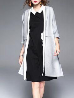 Gray Shift Slit Plain 3/4 Sleeve Cardigan