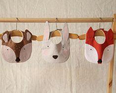 Handmade bib set. Woodland animal bib set. Handmade bibs. Fox