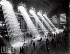 Railway station with shafts of light