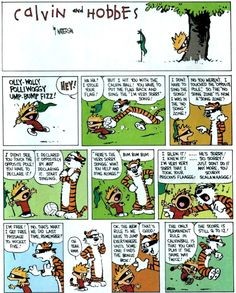 I love Calvin and Hobbes. I cut my reading teeth on these books & my late Grandpap & I would loan each other the books we did not have in our collection.