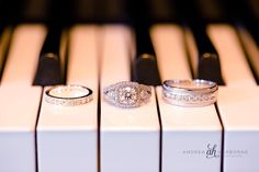 Wedding rings on a piano at Coral Gables Country Club   Miami Wedding Photographer   Andrea Harborne Photography