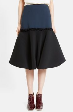 Cedric Charlier Ruffle Trim Crepe Skirt