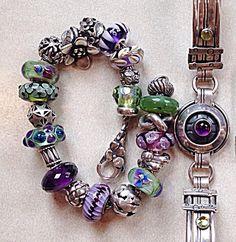 Bobbie Karr's purple/green bracelet to go with the beautiful amethyst silver bracelet.
