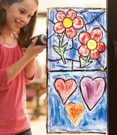 Homemade Stained Glass - wonder if I can get away with doing this on my classroom windows??