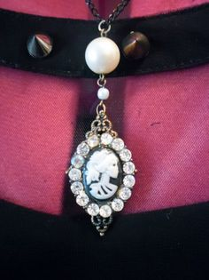 Skeleton Cameo with pearls and shiny bling by BonesandGlitter