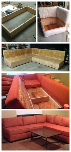diy sofa sectional with storage!!! Uses store bought cushions, just build base and staple fabric over it.