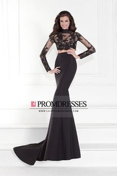 2016 Prom Dresses High Neck Long Sleeves Lace Zipper Up Back With Applique US$ 169.99 LilyP572J47E - lilypromdresses.com