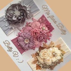 Fabric Flower Headbands, Diy Baby Headbands, Baby Bows, Bow Hairband, Knot Headband, Ribbon Art, Ribbon Bows, Felt Flowers, Fabric Flowers
