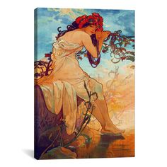 Summer by Alphonse Mucha Canvas Print Wall Art (My Favorite Mucha painting!)
