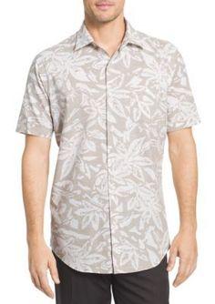 Van Heusen  Big  Tall White Wash Floral Button Down Shirt