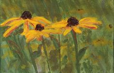 New  THREE YELLOW DAISIES A Mini 4x6 Fine Art by AlanKrugFineArt