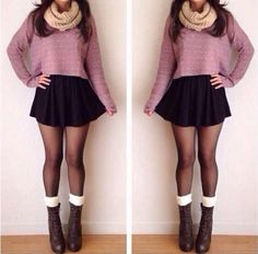 Cute outfit. Black skirt, cropped sweater, loop scarf, tights, boots and socks.