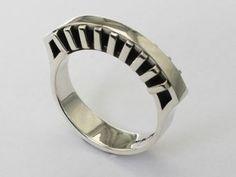 Art Deco Style Silver Bridge Ring by Shlomzion