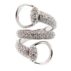 c38107745a3 Gucci Double Coil Horsebit Diamond White Gold Ring