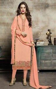 semi-stitched light orange georgette pakistani suit Indian Designer Suits, Churidar, Salwar Kameez, Pakistani Suits, Types Of Sleeves, Full Sleeves, Types Of Dresses, Dress Suits, Pink Dress
