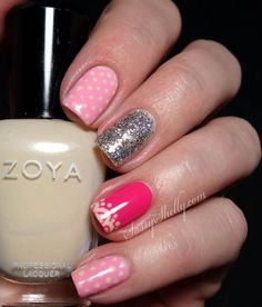 Sassy Shelly: Nails and Attitude: Digit-al Dozen DOES Vintage ~ Day 2 Pink Polka Dots & Lace