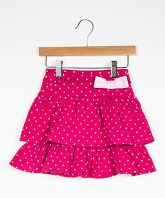 Love this Pink Polka Dot Bow Tiered Skirt - Toddler & Girls by DownEast Basics on #zulily! #zulilyfinds