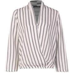 Boohoo Becky Stripe Wrap Over Shirt (54 BRL) ❤ liked on Polyvore featuring cropped camis, over shirt, polka dot cami, striped cami and polka dot camisole