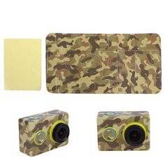 Green Camouflage Camera Sticker Skin Protector Case For XiaoMi Yi Sport Cam #Unbranded