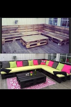 Photo of pallets turned into back porch decor! Love! would do different colors of pillows though