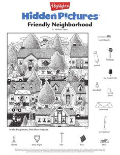 Hidden Pictures Printables, Highlights Hidden Pictures, Visual Perceptual Activities, Hidden Picture Puzzles, Coloring Books, Coloring Pages, Indoor Games For Kids, Hidden Images, Paper Games