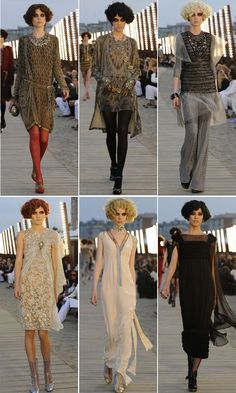 Vintage Fashion Coco Chanel's 2010 Resort collection, featuring an authentic look, complete with overly smudged, smokey eye makeup Great Gatsby Fashion, 20s Fashion, Fashion History, Modern Fashion, Art Deco Fashion, Retro Fashion, High Fashion, Fashion Show, Vintage Fashion