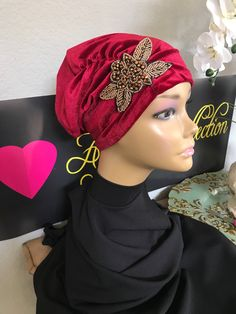 b91535306d3 Red with beaded flower soft velvet stretch head cap turban Hijab beanie  chemo hat