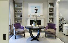 London formal reception area- purple chairs