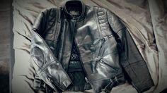 Vintage leather jacket distressed