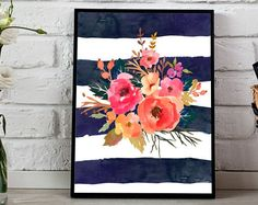 Pink flowers Navy stripes Watercolor Florals Flower Bouquet Navy Stripes Girls Nursery Printable Print Wall Art Nursery Decor Watercolor Art