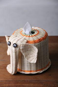 Elephant Tissue paper Box #Thai handmade #100% natural wicker