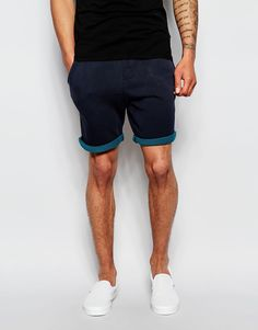 """Shorts by Scotch & Soda Loop-back sweat Drawstring waist Two side pockets One back pocket Contrast turn-up cuffs Slim fit - cut closely to the body Machine wash 100% Cotton Our model wears a size Medium and is 188cm/6'2"""" tall"""