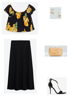 Black floral off the shoulder top+black maxi skirt+black ankle strap heeled sandals+wood clutch+gold earrings. Summer Going Out Evening Outfit 2016