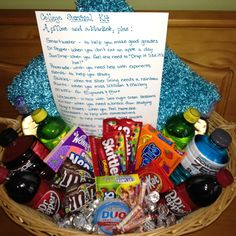 College Survival Kit for our wonderful babysitter. She will be surprised tomorrow with a basket full of treats!