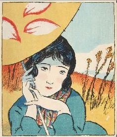 "By Yumeji Takehisa (1884-1934), 10/1926, The Ladies' Graphic (Fujin Gurafu). The world of the ""moga"" (modern girl) of Japan's roaring twenties."