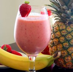 A healthy and delicious breakfast option: banana-berry smoothie