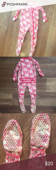 Kickee Pants | Desert Flower 6-12M Kickee Pants Size 6-12M Desert Flower Print footies. Snap closure. Ruffles on front and back. Gently worn. GUC Some darkening on the back of the feet but might just be the flowers/I can't tell!! Hot pink color with mint green in the middle of the flowers. No holes or stains. No trades. Kickee Pants One Pieces Footies