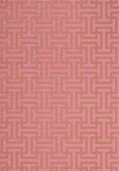 Rymann - Metallic Gold on Pink wallpaper, from the Serenade collection by Anna French Wallpaper Online, Home Wallpaper, Fabric Wallpaper, Pink And Gold Wallpaper, Application Pattern, Anna French, French Collection, Inspirational Wallpapers, Metallic Pink
