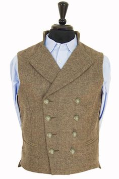 Gentleman's Regency Waistcoat Glenshiel Tweed. You'll find that our beautifully styled waistcoat will completely transform your casual attire into a suave three piece look. Regency style is timeless band incredibly smart! The perfect way to bring a splash of individual style to any formal or smart-casual look. Athletic cut to enhance your silhouette. Tweed back - not flimsy silk! Usable front pockets. Military Inspired buttons. Moleskin details. 100% British Tweed
