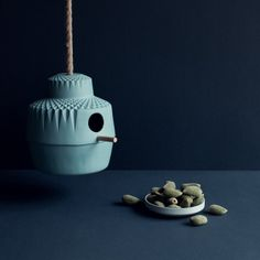 Dutch designer Lenneke Wispelwey has created a ceramic birdhouse named 'Who Needs a Wooden House Anyway'.