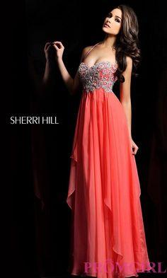 SHEREE HILL DRESS PICS  | Long Halter Prom Dress by Sherri Hill 3836