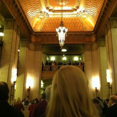 Beautiful Art Deco Grand Foyer in the Civic Opera House home of the Lyric Opera of Chicago.  With my iPhone by Jane Love;