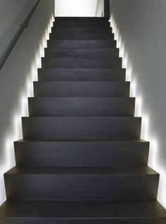 Today's emphasis? The stairs! Here are 26 inspiring ideas for decorating your stairs tag: Painted Staircase Ideas, Light for Stairways, interior stairway lighting ideas, staircase wall lighting. Led Stair Lights, Stairway Lighting, Solar Lights, Ceiling Lighting, Basement Stairs, House Stairs, Open Basement, Basement Ideas, Interior Lighting