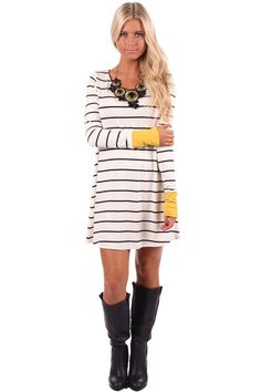 Lime Lush Boutique - Ivory Striped Dress or Top with Mustard Cuff, $32.99 (http://www.limelush.com/ivory-striped-dress-or-top-with-mustard-cuff/)