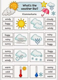 "Ideenreise: Klammerkarten zum Thema ""weather"" Idea trip: Clip cards on the topic ""weather"" English Grammar For Kids, Learning English For Kids, Kids English, English Language Learning, English Words, English Lessons, English Vocabulary, Teaching English, Learn English"