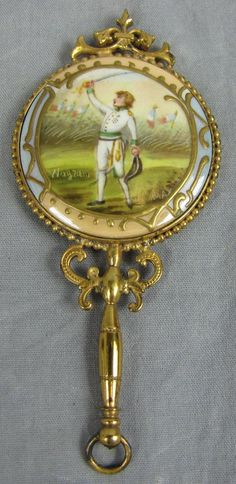 Antique MINIATURE HAND MIRROR With Portrait on Back~GILTED BRASS | eBay
