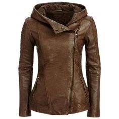 Women's Fashion Oblique Zipper Pu Leather Hooded Jacket