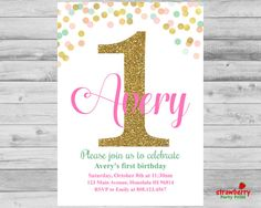 Girl First Birthday Invitation Pink Coral Mint & Gold Gold