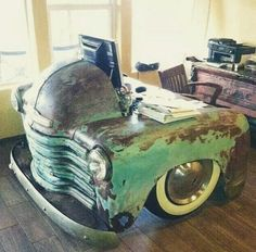 Just because your car has given up on driving, doesn't mean it has to become scrap metal. Check out these awesome upcycle ideas that give old cars new life! Car Part Furniture, Automotive Furniture, Automotive Decor, Dresser Furniture, Furniture Websites, Furniture Plans, Kids Furniture, Modern Furniture, Furniture Design